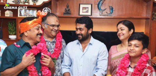 Suriya graced the first day shoot of Jyothika's Kaatrin Mozhi